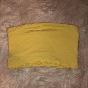 Yellow Tube Top Ruffle Bottom